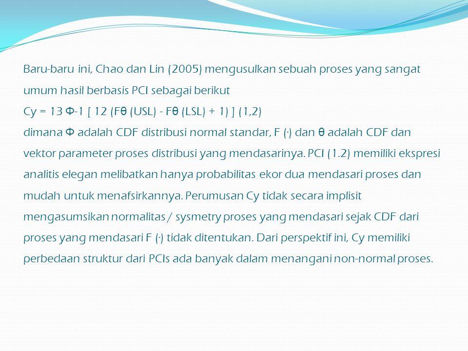 Baru-baru ini, Chao dan Lin (2005) mengusulkan sebuah proses yang sangat umum hasil berbasis PCI sebagai berikut Cy = 13 Φ-1 [ 12 (Fθ (USL) - Fθ (LSL) + 1) ] (1,2) dimana Φ adalah CDF distribusi normal standar, F (·) dan θ adalah CDF dan vektor parameter proses distribusi yang mendasarinya.